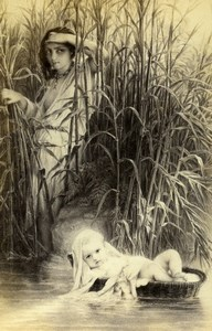 France Moses in the Bulrushes by Delaroche Old Goupil CDV Photo of Painting 1865