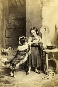 Germany Maternal anxiety by Meyerheim Old Schauer CDV Photo of Painting 1865