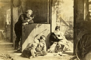 Germany Family Happiness by Meyerheim Old Schauer CDV Photo of Painting 1865