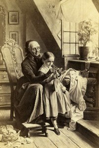 Germany Instruction in Knitting by Meyerheim Schauer CDV Photo of Painting 1865