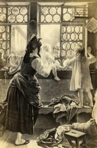 Germany Good Morning Dear Father by Meyerheim Schauer CDV Photo of Painting 1865