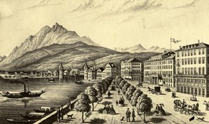 Switzerland Photo of Picture Drawing of Lucerne Old CDV 1865