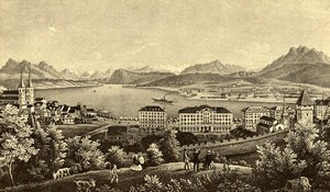 Switzerland Lucerne Panorama Old CDV Photo of Gravure 1865