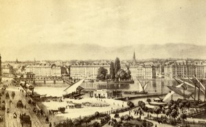 Switzerland Geneva English Garden Old CDV Photo of Gravure 1865