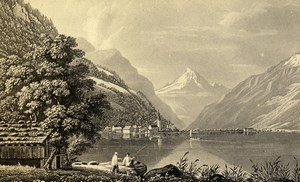 Switzerland Lake of Lucerne Old CDV Photo of Gravure 1865