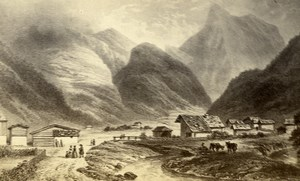 Switzerland View of Gemmi Mountain Village Old CDV Photo of Gravure 1865