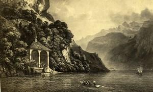 Switzerland William Tell Chapel Old CDV Photo of Gravure 1865