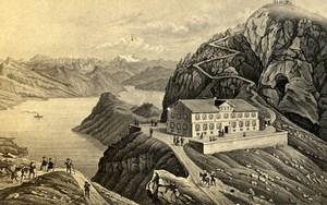 Switzerland Lucerne Mount Pilatus Old CDV Photo of Gravure 1865