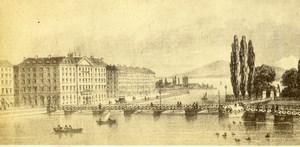 Switzerland Geneva Hotel des Bergues Old CDV Photo of Painting or Gravure 1865