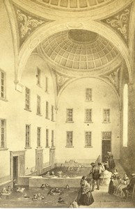 Switzerland Leukerbad Baths Old CDV Photo de Gravure 1865