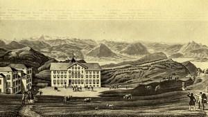 Switzerland Courhaus auf Rigi Kulm Old CDV Photo of Gravure 1865