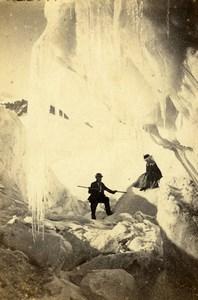 Switzerland Rhone Glacier Mountain Alps Old CDV Photo Adolphe Braun 1865