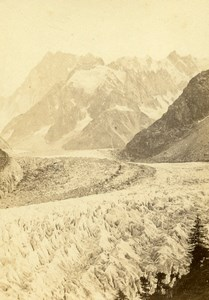France Alps Mer de Glace Montanvert Montenvers Old CDV Photo Tairraz Freres 1865