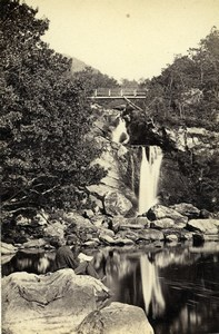 Scotland Ecosse Waterfall at Inversnaid Loch Lomond Old CDV Photo GW Wilson 1865