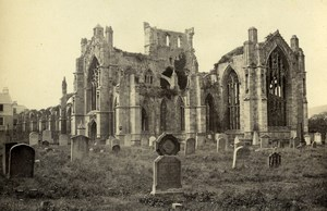 Scotland Ecosse Melrose Abbey from the South East Old CDV Photo GW Wilson 1865