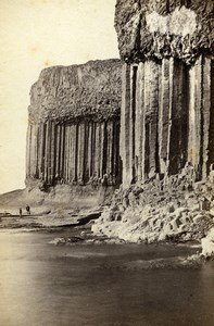 Scotland Ecosse Staffa Colonnade of Basaltic Pillars Old CDV Photo Wilson 1865
