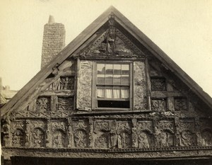 United Kingdom Chester Carved Gable of Bishop House Old CDV Photo Bedford 1865