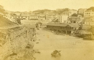 France Biarritz Old Port Harbour Panorama Old CDV Photo Jules Andrieu 1865