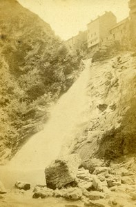 France Pyrenees Eaux Bonnes Valentin Waterfall Old CDV Photo Jules Andrieu 1865