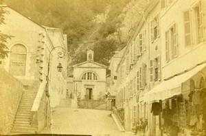France Eaux Bonnes Church Street Scene Old CDV Photo Jules Andrieu 1865