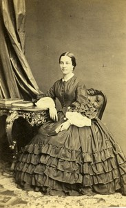 France Paris Woman Fashion of Second Empire Old CDV Photo Plumier 1865