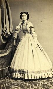 France Paris Woman Fashion of Second Empire Old CDV Photo Bureau 1865