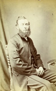 United Kingdom Bedale Bearded Man Victorian Fashion Old CDV Photo Sherwood 1870