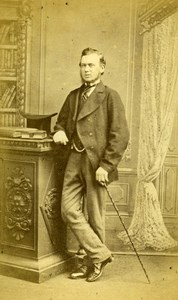 United Kingdom Sleaford Man Victorian Fashion Old CDV Photo Tippins 1870