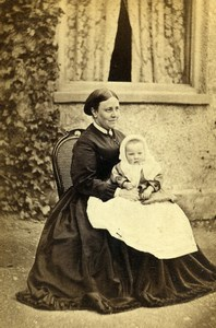 United Kingdom Hornsey Woman Baby Victorian Fashion Old CDV Photo Williams 1865
