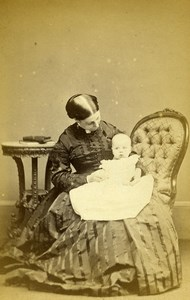 United Kingdom Newton Woman Baby Sybil Victorian Fashion Old CDV Photo Owen 1866