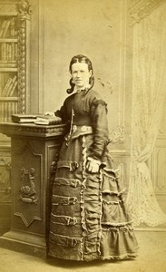 United Kingdom Sleaford Woman Victorian Fashion Old CDV Photo Tippins 1870