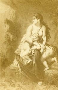 France Lille Museum Painting Woman Children Dagger Old CDV Photo Benoit 1865