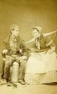 London Theater Actors Sarah Woolgar John Lawrence Toole CDV Photo Prout 1859