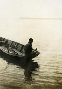 Indonesia Sumatra Island Man on his Boat Old Amateur Photo Snapshot 1935