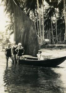 Indonesia Sumatra Island Group & small Sailboat Old Amateur Photo Snapshot 1935