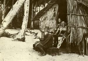 Indonesia Sumatra Island Elderly Man Traditional Hut Amateur Photo Snapshot 1935