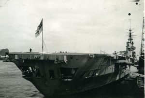 WWII Royal Navy Military Aircraft Carrier Old Photo Snapshot 1944