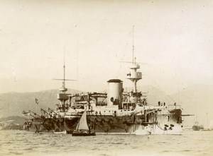 French Marine Military Navy Battleship Marceau Old Photo Marius Bar 1900