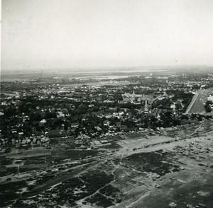Cambodia Phnom Penh Aerial View Panorama Old Amateur Snapshot Photo 1934