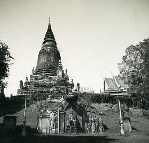 Cambodia Phnom Penh Temple Wat Phnom Old Amateur Snapshot Photo 1934