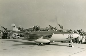 Germany Military Fighter Aircraft Marineflieger Sea Hawk Mk.100 Old Photo 1960