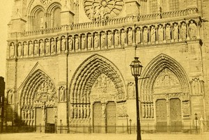 France Paris Notre-Dame Cathedral Doors Old CDV Photo Hautecoeur 1870
