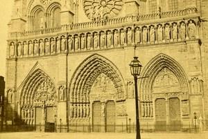 France Paris Notre-Dame Cathedral Doors Old CDV Photo Hautecoeur 1870