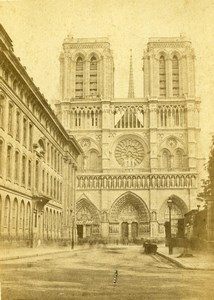 France Paris Notre-Dame Cathedral West Façade Old CDV Photo 1860's