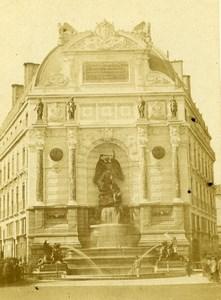 France Paris Fontaine Saint Michel ancienne Photo CDV 1870