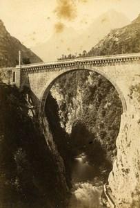 Pyrenees Pont Napoleon Bridge Saint Sauveur Gavarnie Old CDV Photo Andrieu 1870