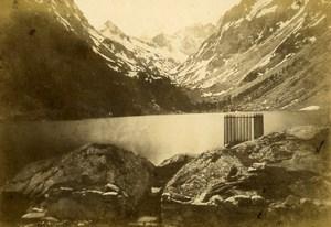 Pyrenees Lac de Gaube et Glaciers de Vignemale Cauterets ancienne Photo CDV Andrieu 1870