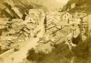 Pyrenees Bareges vue générale ancienne Photo CDV Jules Andrieu 1870