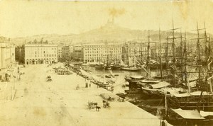 France Marseille Old Port Harbour Boats Sailboats Old Neurdein CDV Photo 1870's