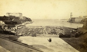 Marseille Phare Haut Lighthouse & Fort Saint Jean Old Neurdein CDV Photo 1870's